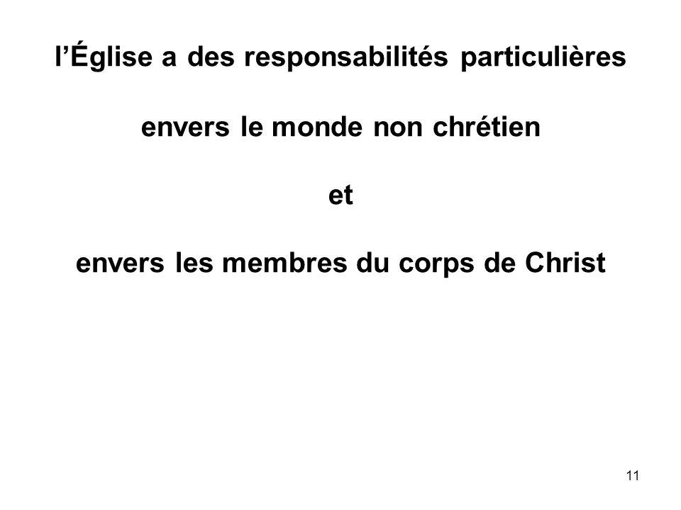 11 lÉglise a des responsabilités particulières envers le monde non chrétien et envers les membres du corps de Christ