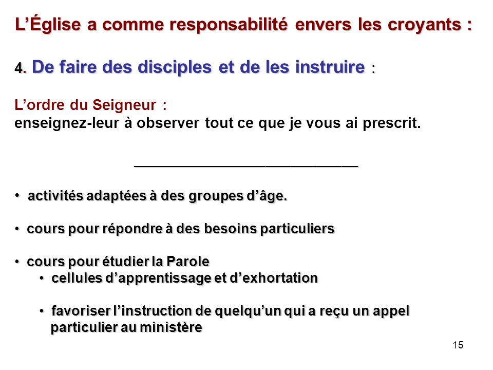 15 LÉglise a comme responsabilité envers les croyants : 4.