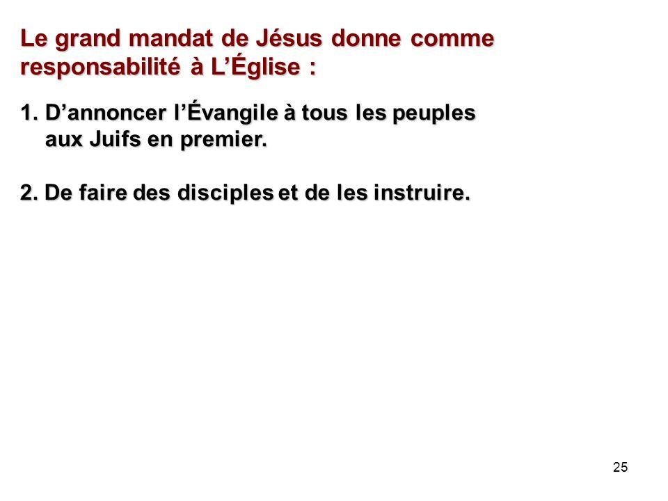 25 Le grand mandat de Jésus donne comme responsabilité à LÉglise : 1.Dannoncer lÉvangile à tous les peuples aux Juifs en premier.