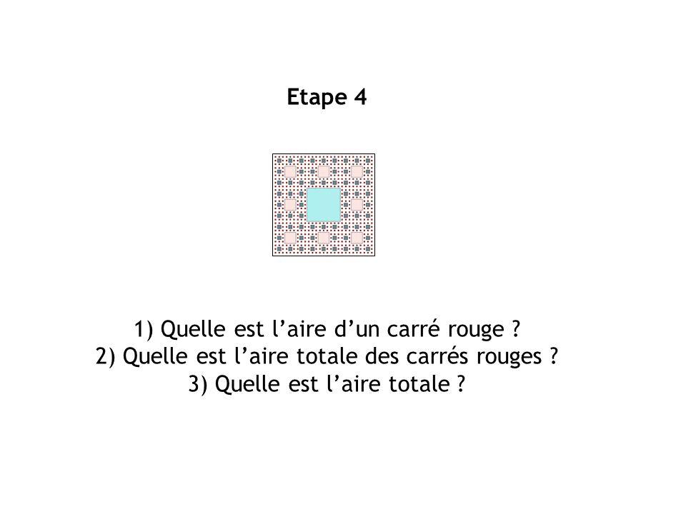 Etape 4 1) Quelle est laire dun carré rouge ? 2) Quelle est laire totale des carrés rouges ? 3) Quelle est laire totale ?