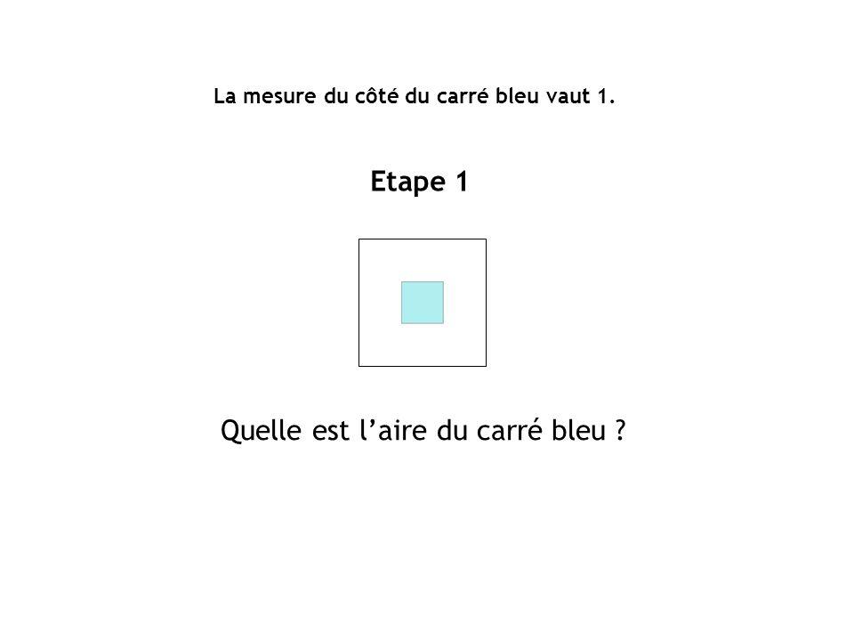 La mesure du côté du carré bleu vaut 1. Etape 1 Quelle est laire du carré bleu ?