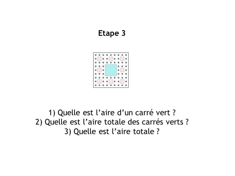 Etape 3 1) Quelle est laire dun carré vert ? 2) Quelle est laire totale des carrés verts ? 3) Quelle est laire totale ?