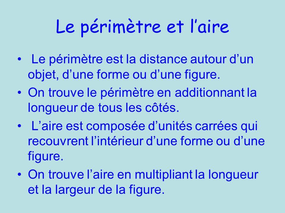 Le périmètre et laire Le périmètre est la distance autour dun objet, dune forme ou dune figure.
