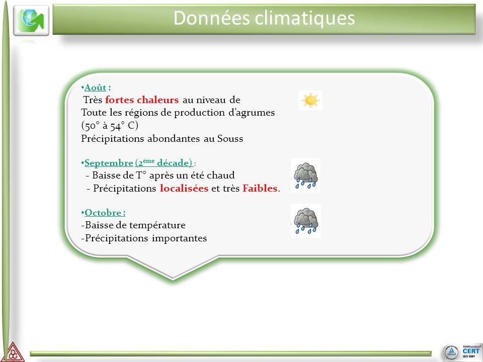 II III Août : Très fortes chaleurs au niveau de Toute les régions de production dagrumes (50° à 54° C) Précipitations abondantes au Souss Septembre (2 éme décade) : - Baisse de T° après un été chaud - Précipitations localisées et très Faibles.