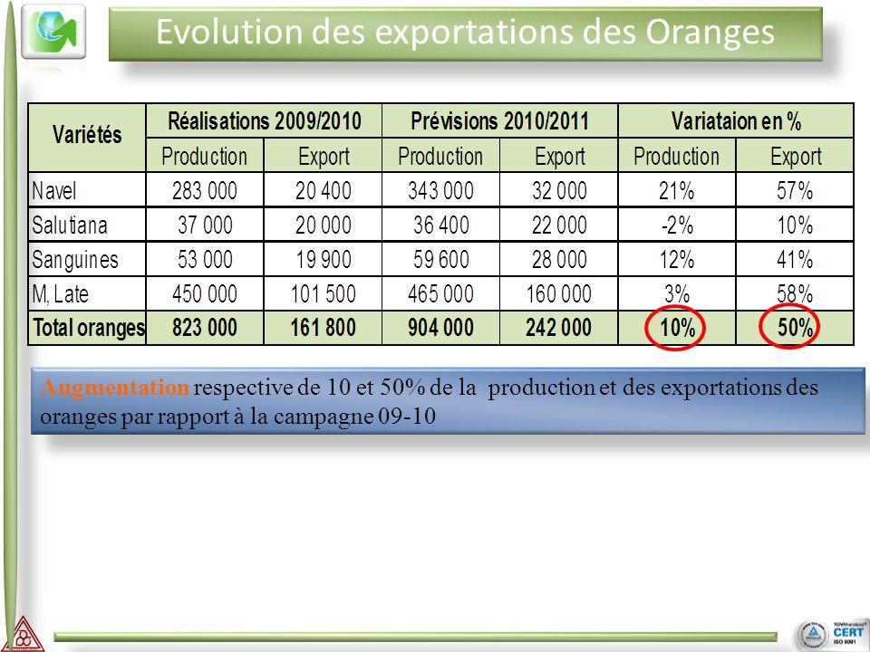 II III Evolution des exportations des Oranges Augmentation respective de 10 et 50% de la production et des exportations des oranges par rapport à la c