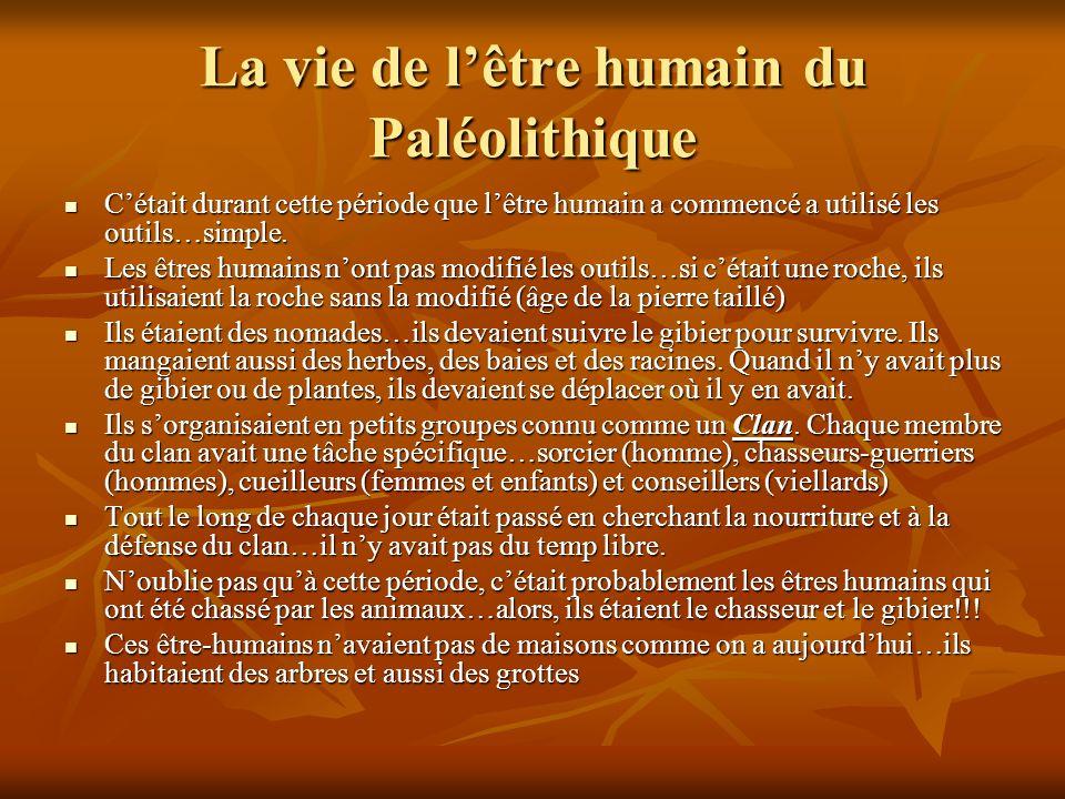 La vie de lêtre humain du Paléolithique Cétait durant cette période que lêtre humain a commencé a utilisé les outils…simple.