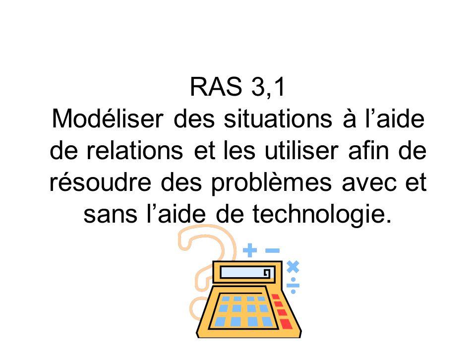 RAS 3,1 Modéliser des situations à laide de relations et les utiliser afin de résoudre des problèmes avec et sans laide de technologie.