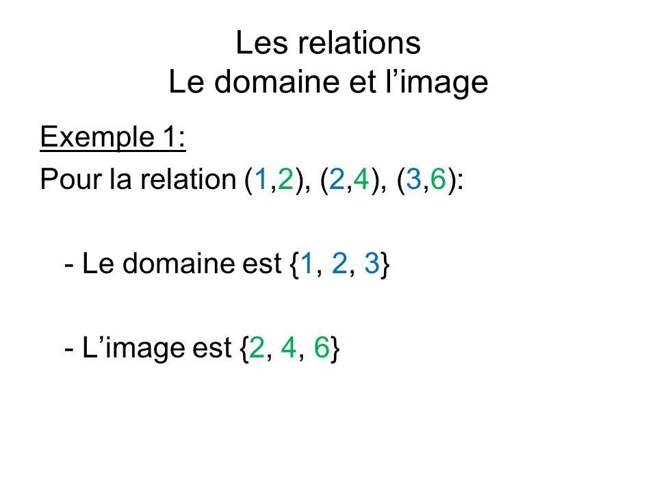 Les relations Le domaine et limage Exemple 1: Pour la relation (1,2), (2,4), (3,6): - Le domaine est {1, 2, 3} - Limage est {2, 4, 6}