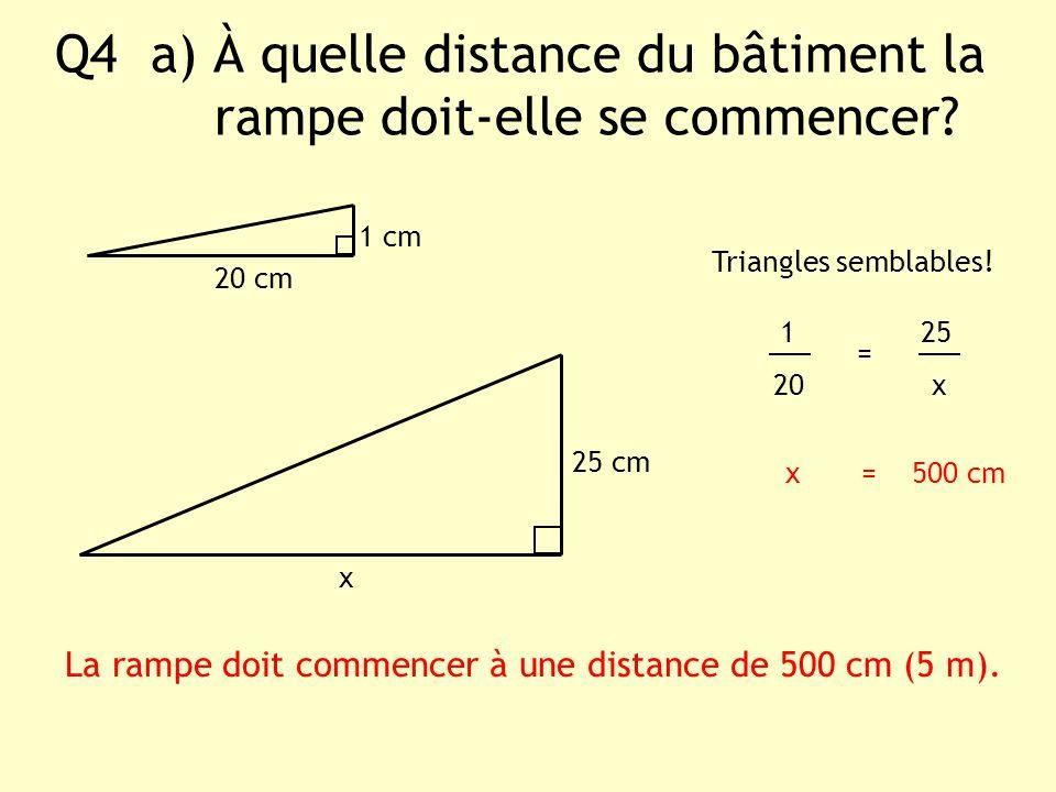 Q4 a) À quelle distance du bâtiment la rampe doit-elle se commencer? x 1 cm Triangles semblables! 1 25 20 x x = 500 cm La rampe doit commencer à une d