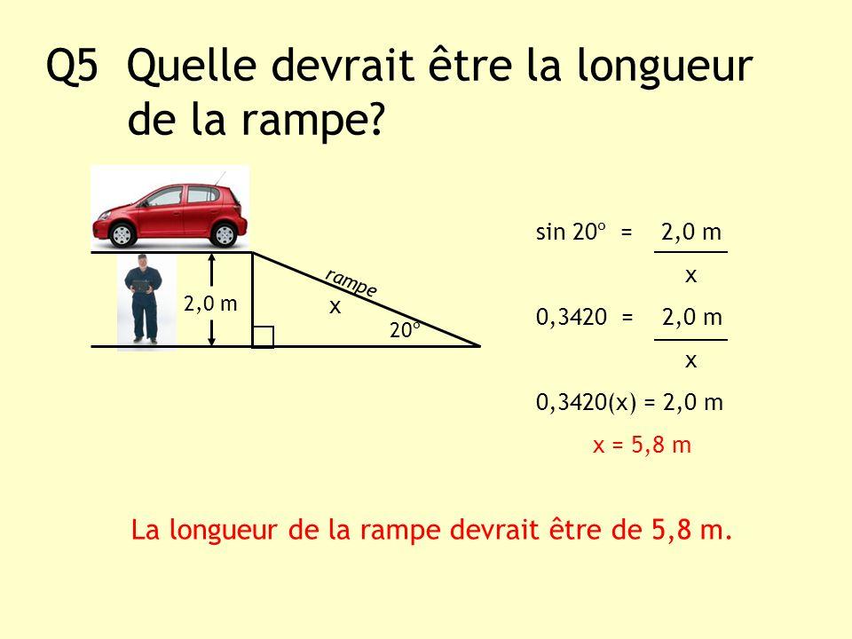 Q5 Quelle devrait être la longueur de la rampe? rampe La longueur de la rampe devrait être de 5,8 m. x 20º sin 20º = 2,0 m x 0,3420 = 2,0 m x 0,3420(x