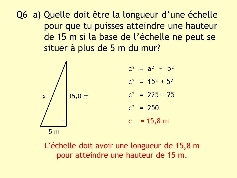Q6 a) Quelle doit être la longueur dune échelle pour que tu puisses atteindre une hauteur de 15 m si la base de léchelle ne peut se situer à plus de 5