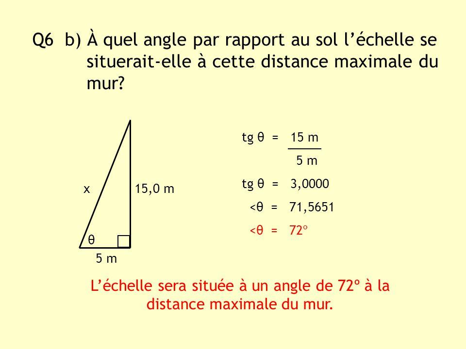 Q6 b) À quel angle par rapport au sol léchelle se situerait-elle à cette distance maximale du mur? x15,0 m Léchelle sera située à un angle de 72º à la