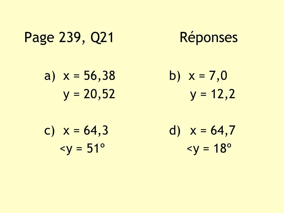 a)x = 56,38 b) x = 7,0 y = 20,52 y = 12,2 c)x = 64,3 d) x = 64,7 <y = 51º <y = 18º Page 239, Q21 Réponses