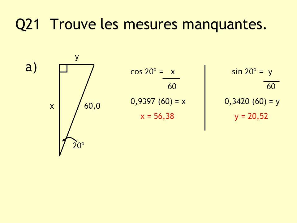 Q21 Trouve les mesures manquantes. a) y x60,0 20º cos 20º = x sin 20º = y 60 60 0,9397 (60) = x 0,3420 (60) = y x = 56,38 y = 20,52