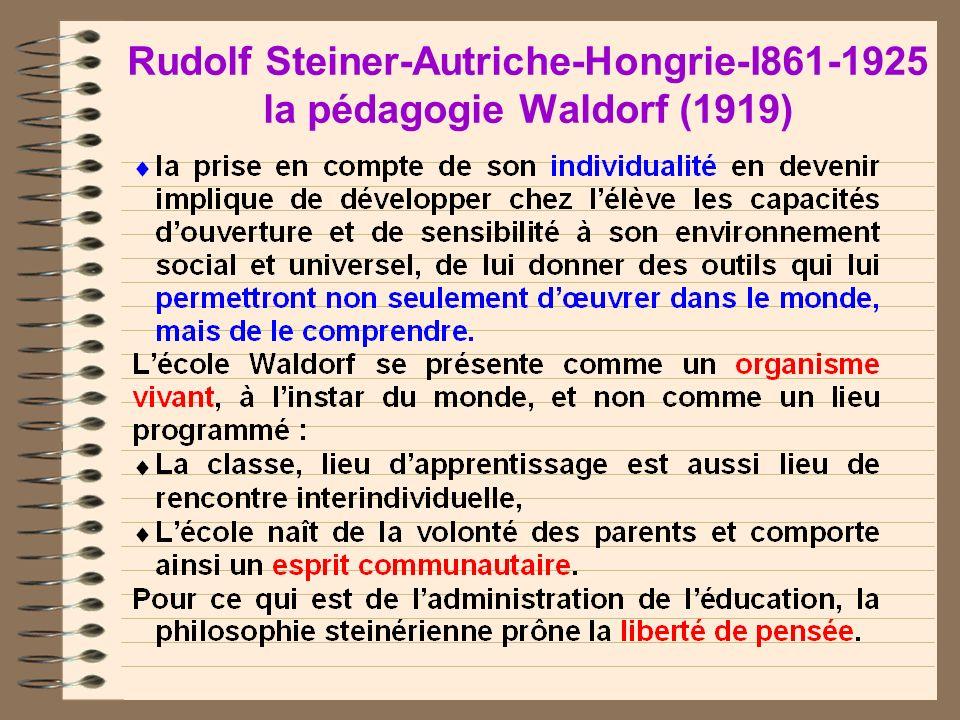 Rudolf Steiner-Autriche-Hongrie-I861-1925 la pédagogie Waldorf (1919)