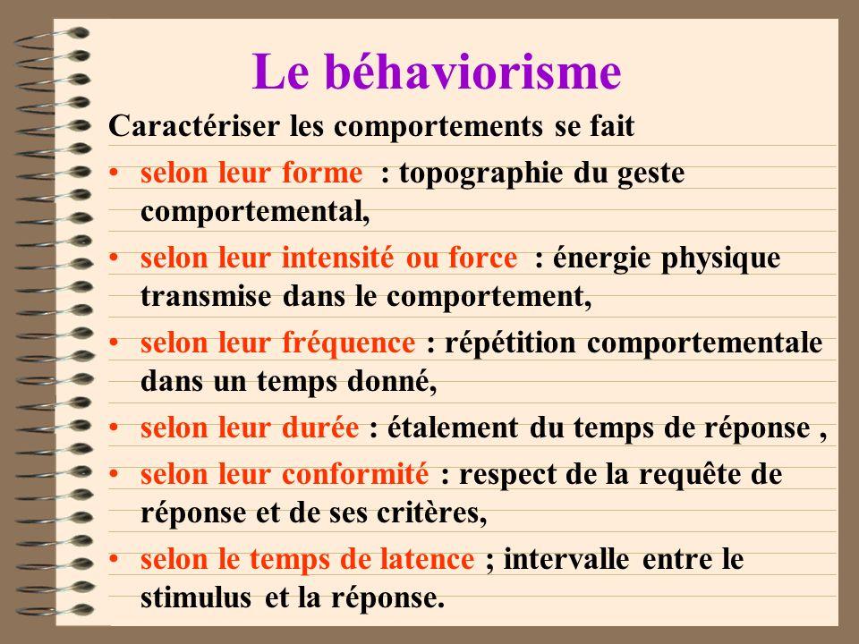 Le béhaviorisme Est issu de 4 courants : le positivisme (scientifique), la psychologie comparée (inter-espèces), le structuralisme et le fonctionnalis