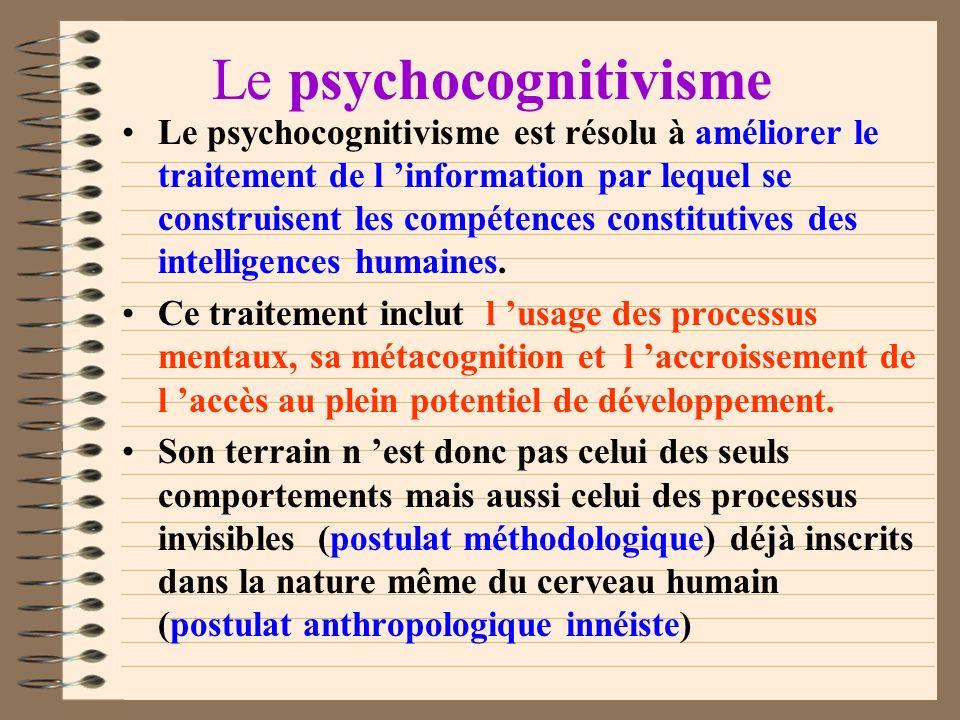 Le psychocognitivisme Issues de la «philosophie de l esprit» et du règne de la communication, les sciences cognitives actuelles ont environ 40 ans et
