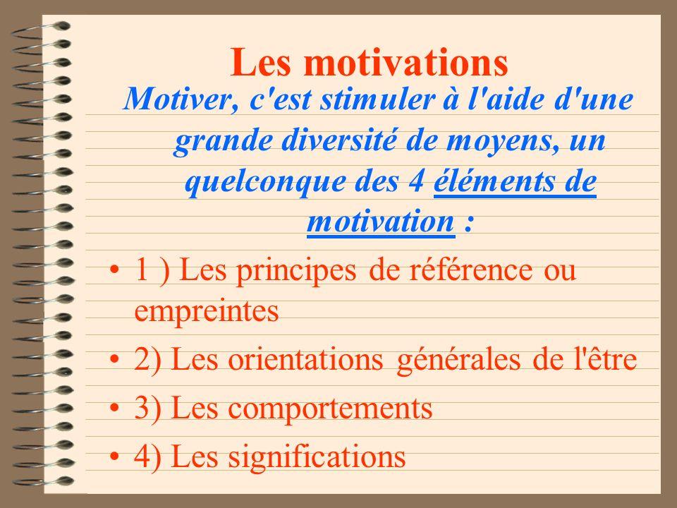 LA MOTIVATION Clé de contact de tout mouvement vers la réalisation d une action (préférablement autodéterminée... ) «Il y a autant de motivations que