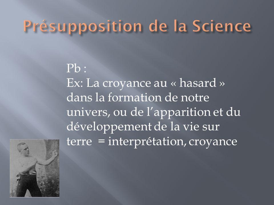 Pb : Ex: La croyance au « hasard » dans la formation de notre univers, ou de lapparition et du développement de la vie sur terre = interprétation, cro