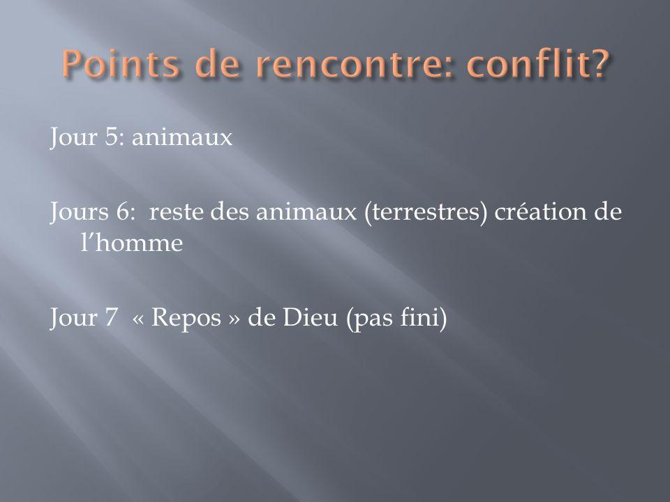 Jour 5: animaux Jours 6: reste des animaux (terrestres) création de lhomme Jour 7 « Repos » de Dieu (pas fini)