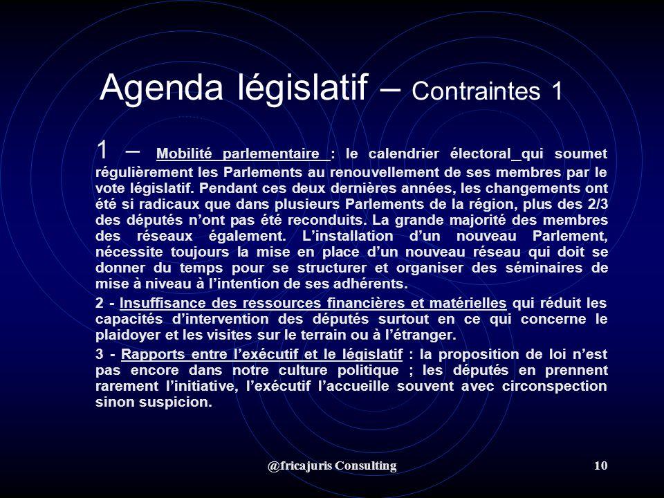 @fricajuris Consulting10 Agenda législatif – Contraintes 1 1 – Mobilité parlementaire : le calendrier électoral qui soumet régulièrement les Parlements au renouvellement de ses membres par le vote législatif.