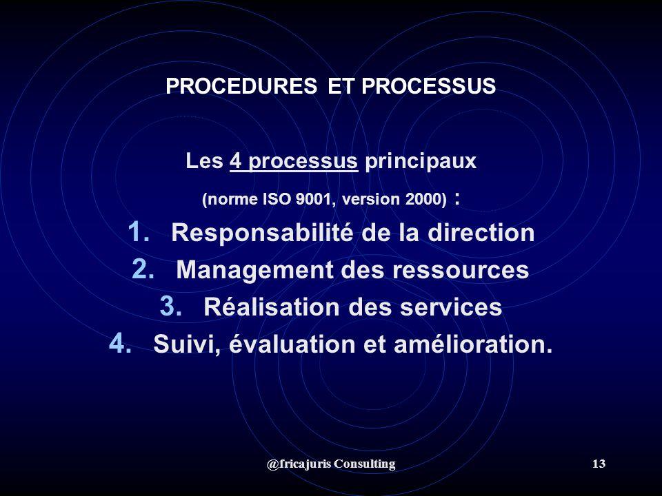 @fricajuris Consulting13 PROCEDURES ET PROCESSUS Les 4 processus principaux (norme ISO 9001, version 2000) : 1.