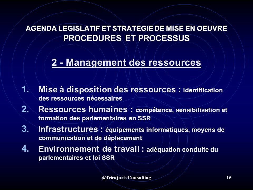 @fricajuris Consulting15 AGENDA LEGISLATIF ET STRATEGIE DE MISE EN OEUVRE PROCEDURES ET PROCESSUS 2 - Management des ressources 1.