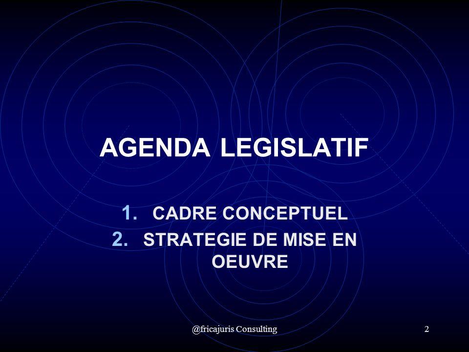 @fricajuris Consulting2 AGENDA LEGISLATIF 1. CADRE CONCEPTUEL 2. STRATEGIE DE MISE EN OEUVRE