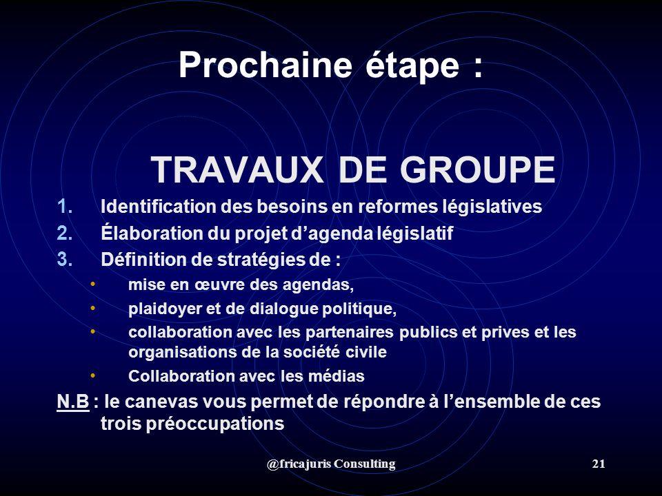 @fricajuris Consulting21 Prochaine étape : TRAVAUX DE GROUPE 1.