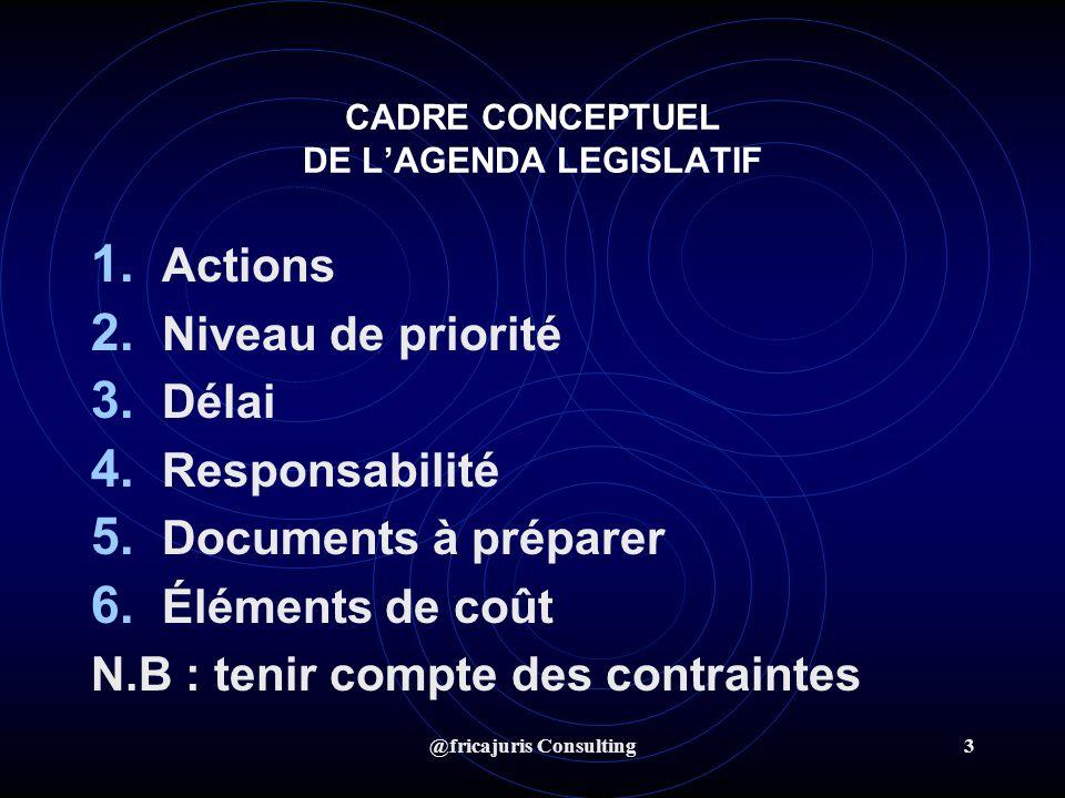 @fricajuris Consulting3 CADRE CONCEPTUEL DE LAGENDA LEGISLATIF 1.