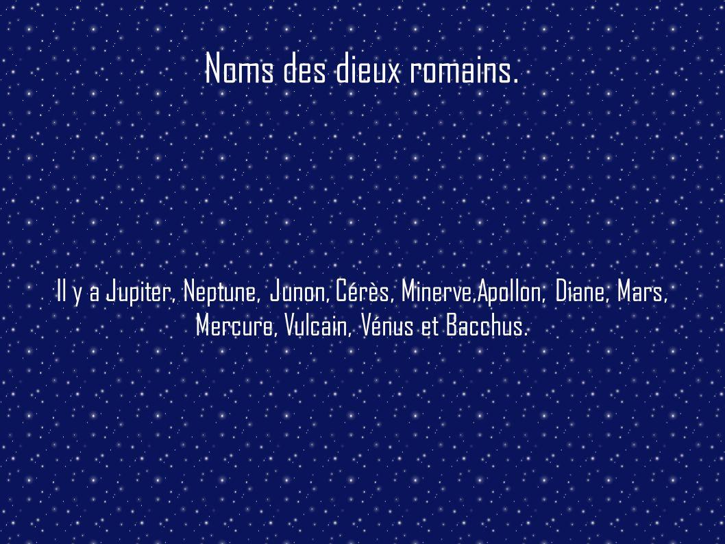 Noms des dieux romains. Il y a Jupiter, Neptune, Junon, Cérès, Minerve,Apollon, Diane, Mars, Mercure, Vulcain, Vénus et Bacchus.