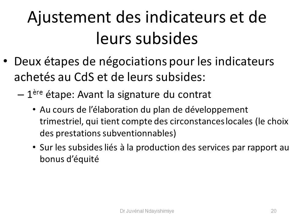 Ajustement des indicateurs et de leurs subsides La 2 ème étape de négociations pour les indicateurs achetés au CdS et de leurs subsides a lieu tous les six mois.