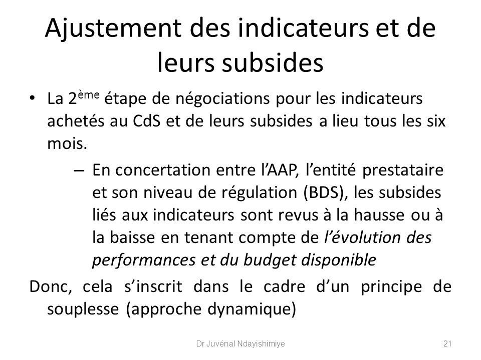 Ajustement des indicateurs et de leurs subsides La 2 ème étape de négociations pour les indicateurs achetés au CdS et de leurs subsides a lieu tous le