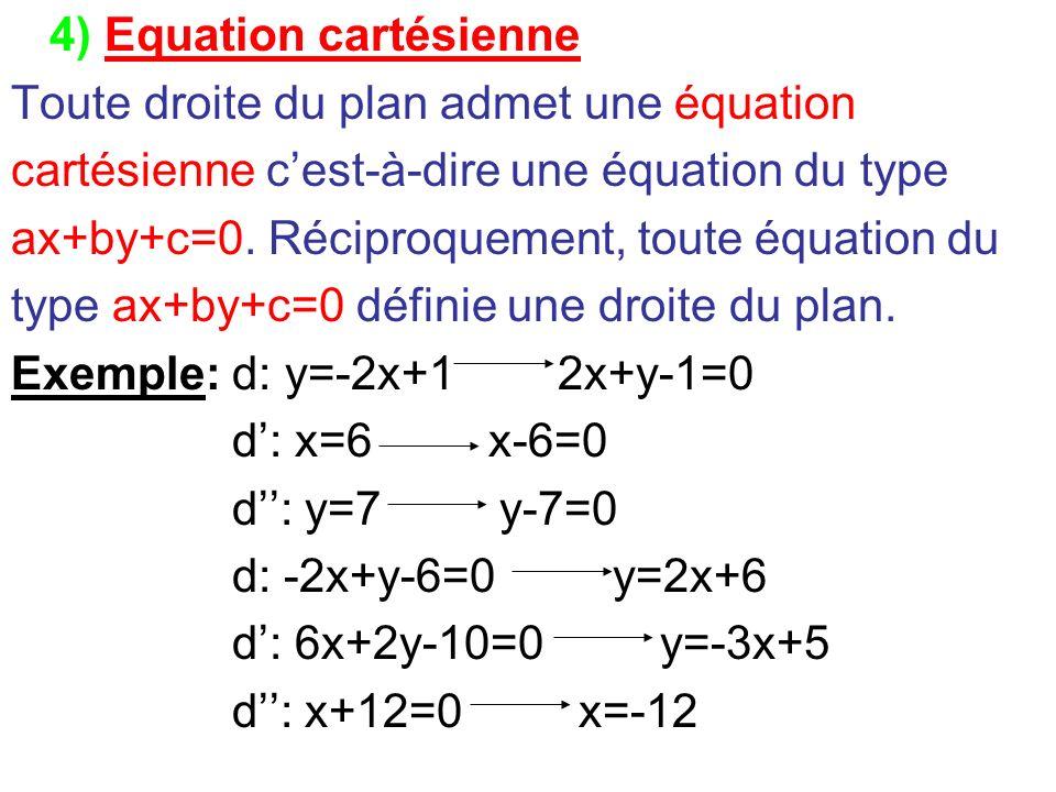 4) Equation cartésienne Toute droite du plan admet une équation cartésienne cest-à-dire une équation du type ax+by+c=0. Réciproquement, toute équation