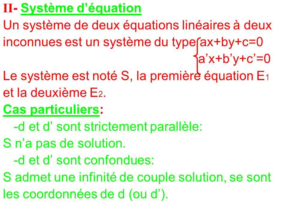 II- Système déquation Un système de deux équations linéaires à deux inconnues est un système du type ax+by+c=0 ax+by+c=0 Le système est noté S, la pre