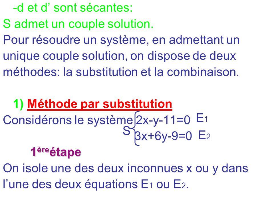 -d et d sont sécantes: S admet un couple solution. Pour résoudre un système, en admettant un unique couple solution, on dispose de deux méthodes: la s