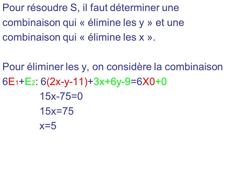 Pour résoudre S, il faut déterminer une combinaison qui « élimine les y » et une combinaison qui « élimine les x ». Pour éliminer les y, on considère
