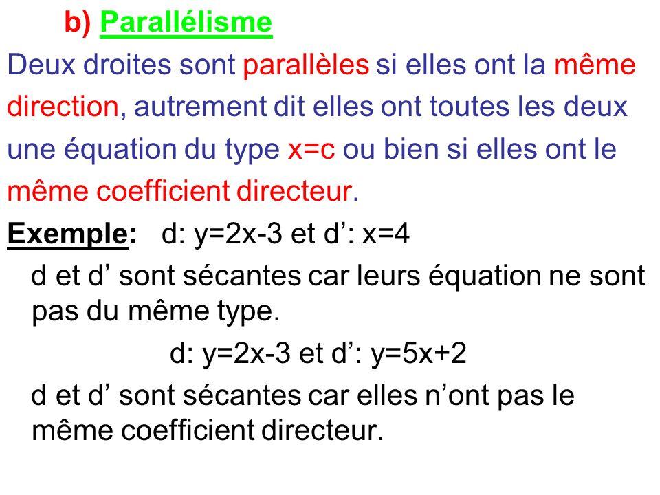 b) Parallélisme Deux droites sont parallèles si elles ont la même direction, autrement dit elles ont toutes les deux une équation du type x=c ou bien
