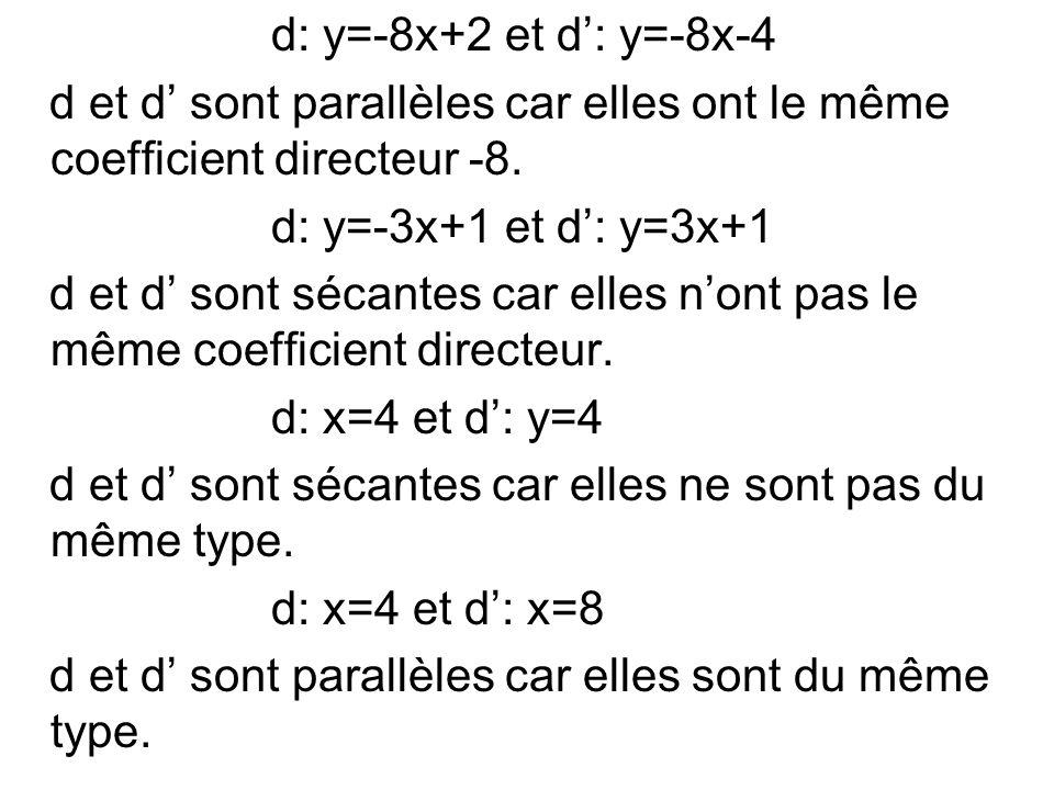 d: y=-8x+2 et d: y=-8x-4 d et d sont parallèles car elles ont le même coefficient directeur -8. d: y=-3x+1 et d: y=3x+1 d et d sont sécantes car elles