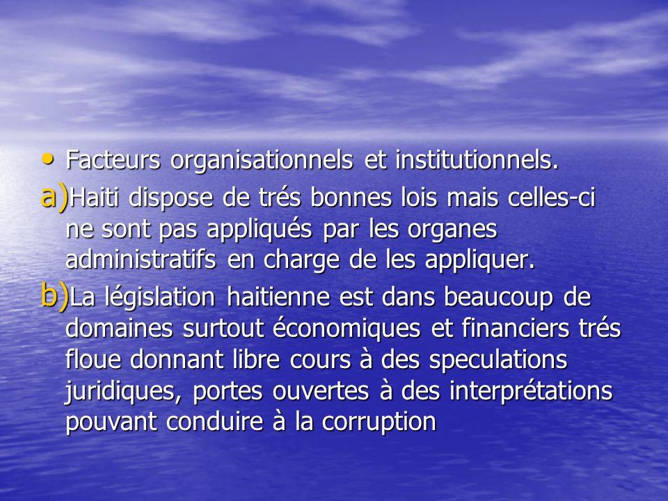 Facteurs organisationnels et institutionnels. Facteurs organisationnels et institutionnels. a) Haiti dispose de trés bonnes lois mais celles-ci ne son