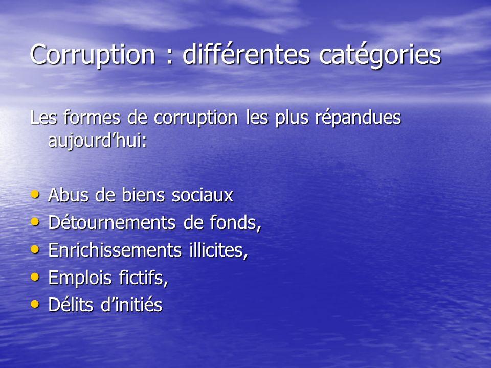 Corruption : différentes catégories Les formes de corruption les plus répandues aujourdhui: Abus de biens sociaux Abus de biens sociaux Détournements