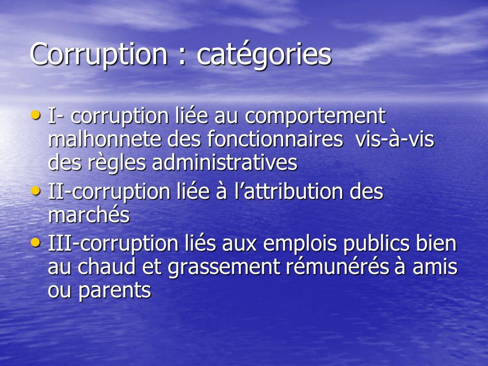 Corruption : catégories I- corruption liée au comportement malhonnete des fonctionnaires vis-à-vis des règles administratives I- corruption liée au co