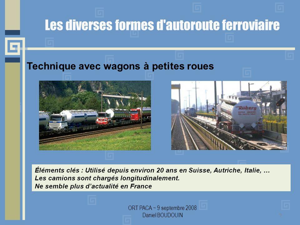ORT PACA ~ 9 septembre 2008 Daniel BOUDOUIN Les diverses formes d autoroute ferroviaire 9 Technique avec wagons à petites roues Éléments clés : Utilisé depuis environ 20 ans en Suisse, Autriche, Italie, … Les camions sont chargés longitudinalement.
