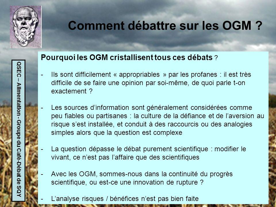QSEC – Alimentation - Groupe du Café-Débat de SQY Comment débattre sur les OGM ? Pourquoi les OGM cristallisent tous ces débats ? -Ils sont difficilem