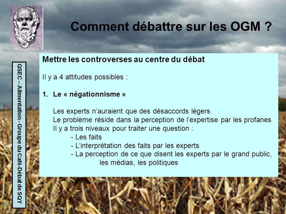 QSEC – Alimentation - Groupe du Café-Débat de SQY Comment débattre sur les OGM ? Mettre les controverses au centre du débat Il y a 4 attitudes possibl