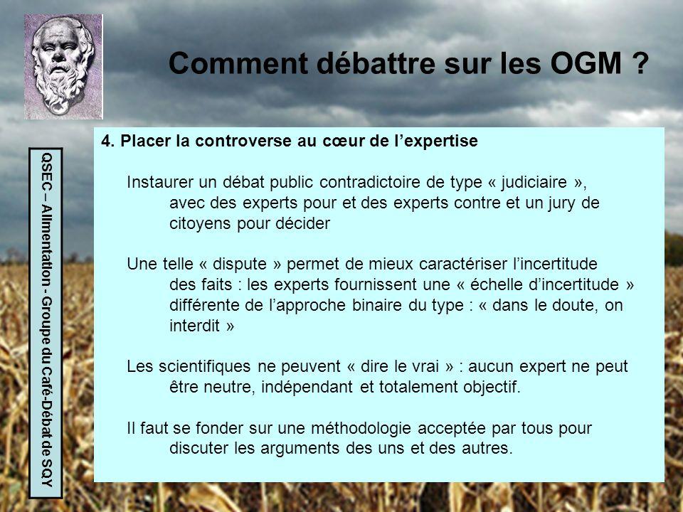QSEC – Alimentation - Groupe du Café-Débat de SQY Comment débattre sur les OGM ? 4. Placer la controverse au cœur de lexpertise Instaurer un débat pub