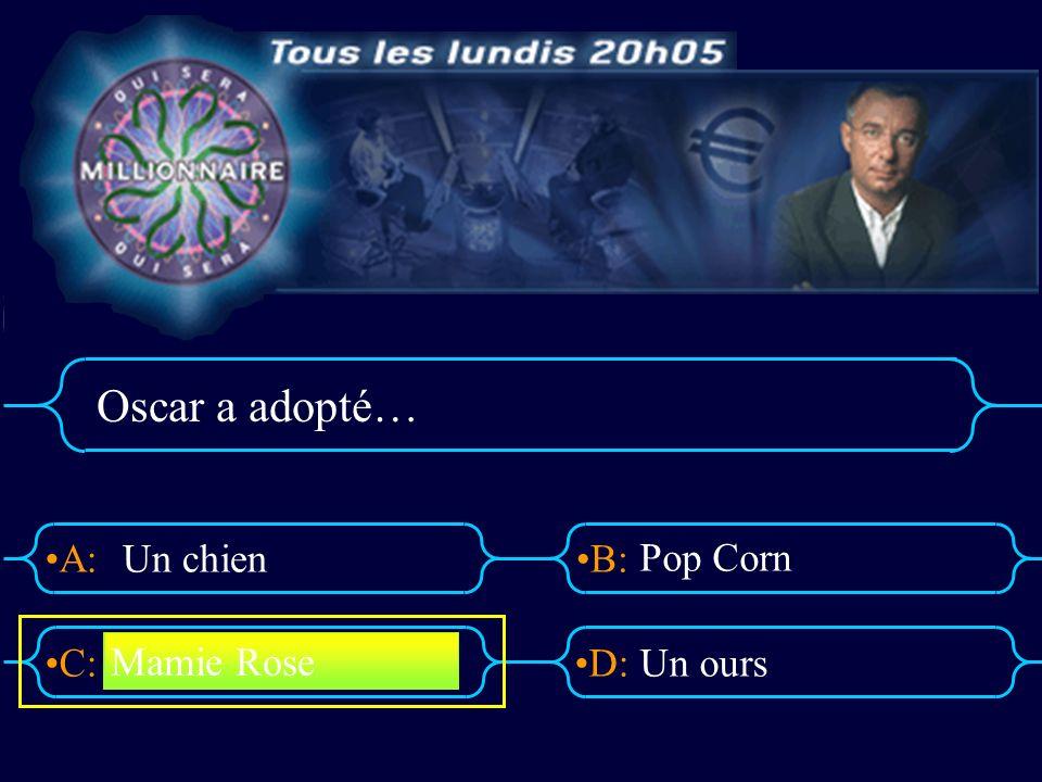 A:B: D:C: Oscar a adopté… Un chien Pop Corn Un ours Mamie Rose