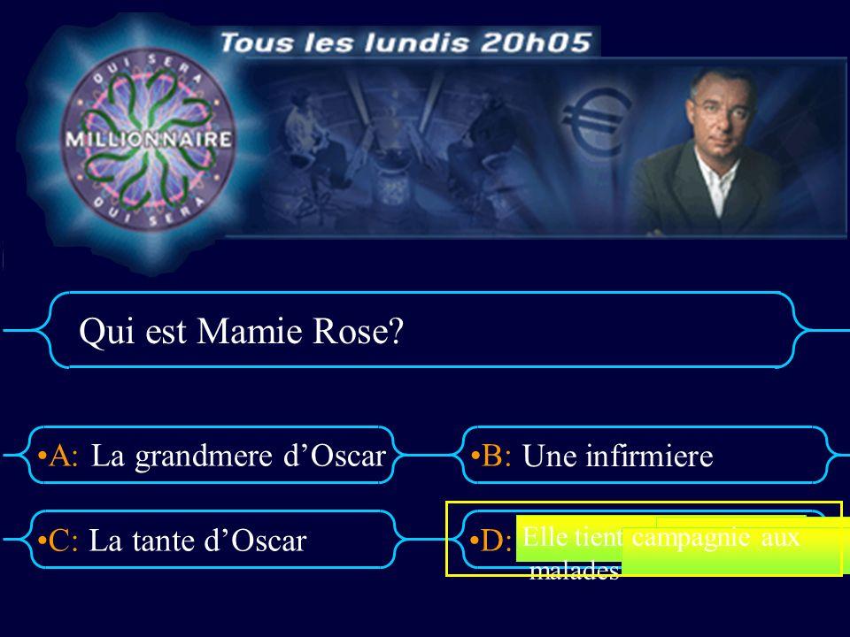 A:B: D:C: Qui est Mamie Rose? La grandmere dOscar La tante dOscar Une infirmiere Elle tient campagnie aux malades