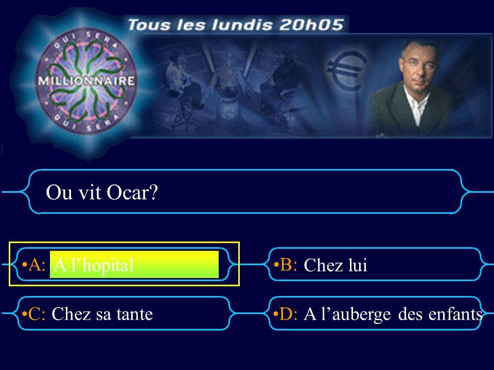 A:B: D:C: Ou vit Ocar? Chez sa tanteA lauberge des enfants A lhopital Chez lui