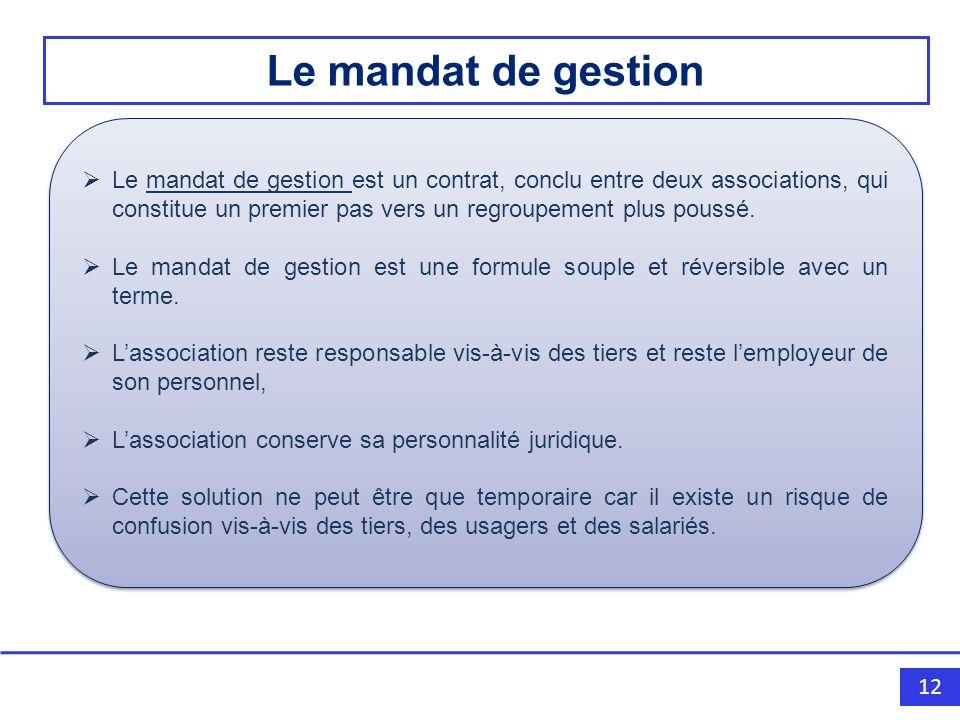 12 Le mandat de gestion est un contrat, conclu entre deux associations, qui constitue un premier pas vers un regroupement plus poussé.